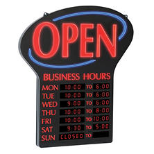Newon LED Open Sign with Digital Business Hours, 20.4""