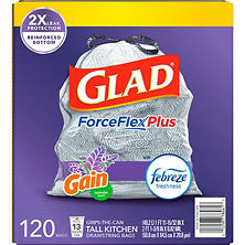 Glad ForceFlexPlus Tall Kitchen Drawstring Trash Bags, with Febreze Mediterranean Lavender, 13 Gallon (120 Ct.)