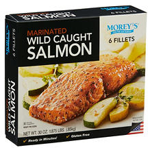 Morey's Wild Caught Marinated Seasoned Salmon, Frozen (6 Fillets)