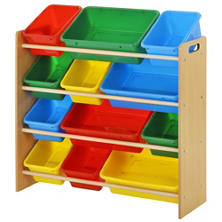 Best Er Kids Bin Organizer With 12 Plastic Bins Bright Or Pastel Color Options