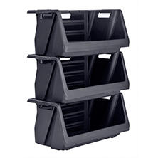 Muscle Rack Stackable Storage Bin in Black (3 pk.)