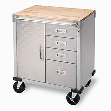 Seville Classics UltraHD Rolling 4-Drawer Storage Cabinet with Key Lock