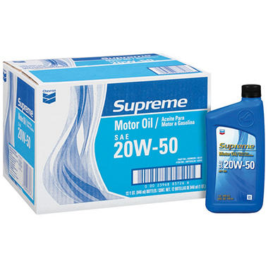 Chevron supreme 20w50 motor oil 1 quart bottles 12 for 20w50 motor oil temperature range