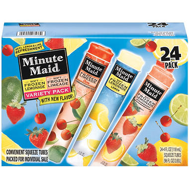 Minute Maid 174 Soft Frozen Variety Pack 4 Oz 24 Ct
