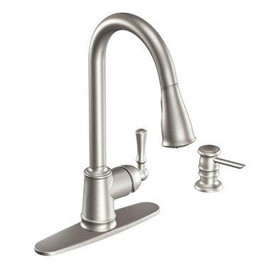moen lancaster single handle pulldown kitchen faucet