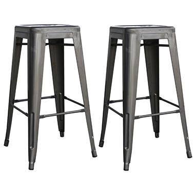 Amerihome Loft Metal Bar Stools Gun Metal Silver Set Of