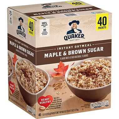 Quaker Instant Oatmeal, Maple Brown Sugar (40 ct.) - Sam's ... Quaker Instant Oatmeal Maple And Brown Sugar