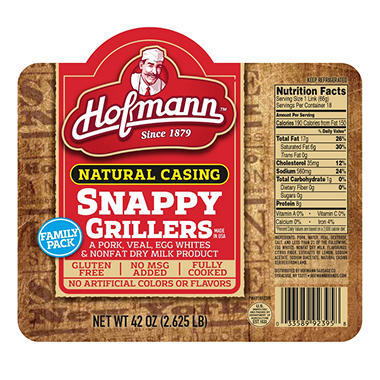 Snappy Grillers Natural Casing Hot Dogs