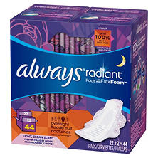 Always Radiant Pads with FlexFoam, Overnight (44 ct.)
