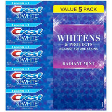 Crest 3D White Toothpaste, Radiant Mint (5.4 oz., 5 pk.)