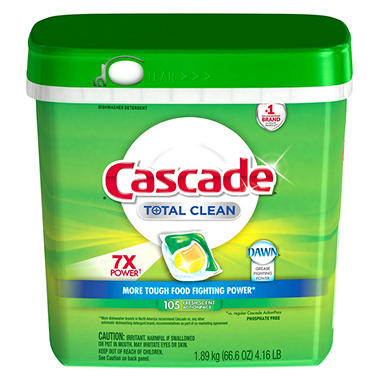 Cascade Total Clean Gel Dishwasher Detergent Pacs Fresh