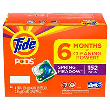Tide Pods Laundry Detergent, Spring Meadow (4 bags, 38 pacs each, 152 Loads Total)