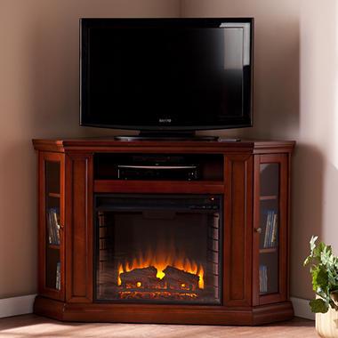 Windsor Electric Fireplace Media Console Mahogany Sam