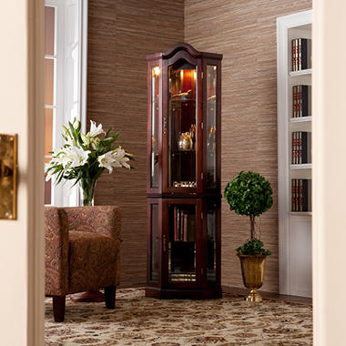 lighted corner curio cabinet mahogany sam 39 s club. Black Bedroom Furniture Sets. Home Design Ideas