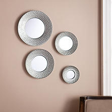 Silver Decorative Wall Mirrors, Set of 4