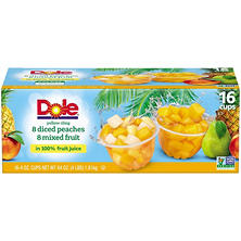 Dole Diced Peaches with Mixed Fruit (4 oz., 16 ct.)