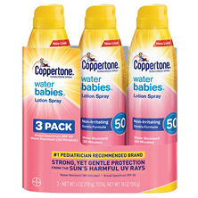 Coppertone Water Babies Sunscreen Lotion Spray, SPF 50 (6 oz., 3 pk.)