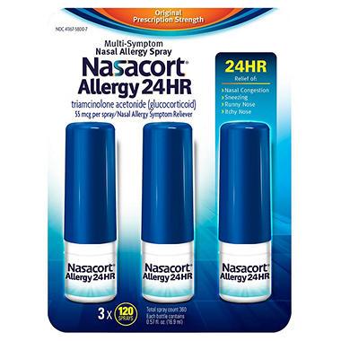Nasacort Allergy 24hr Non-Drip Nasal Spray (120 sprays, 3 ...