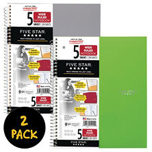 "Five Star® Trend Wirebound Notebook, 5 Subject, Wide Ruled, 10 1/2"" x 8"", 2 Pack, Assorted Colors (Color Choice Not Available)"