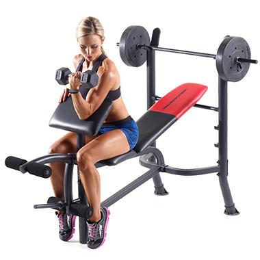 Weider 174 Pro 265 Standard Bench With Weight Set Sam S Club