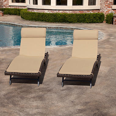 Toronto outdoor chaise cushion heather beige 2 pk sam for Chaise furniture toronto