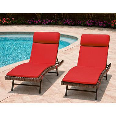 Toronto outdoor chaise cushion canvas jockey red 2 pk for Chaise longue toronto