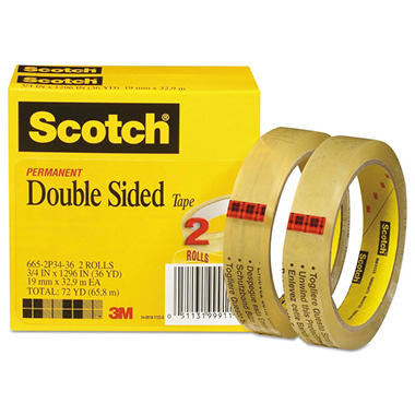 scotch double sided tape 3 4 x 1296 3 core transparent 2 pack sam 39 s club. Black Bedroom Furniture Sets. Home Design Ideas