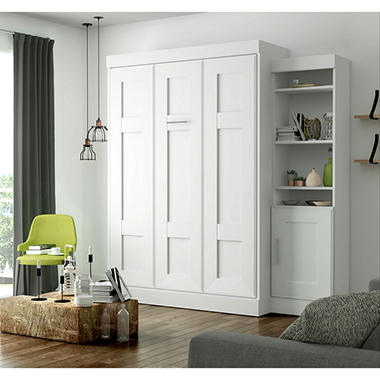Edge By Bestar Wall Bed With One Storage Unit White Sam
