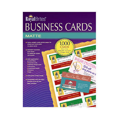 Royal brites business cards inkjet white 1 000 cards for Avery membership card template