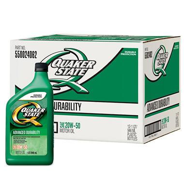 Quaker state 20w50 motor oil 1 quart bottles 12 pack for Quaker state conventional motor oil
