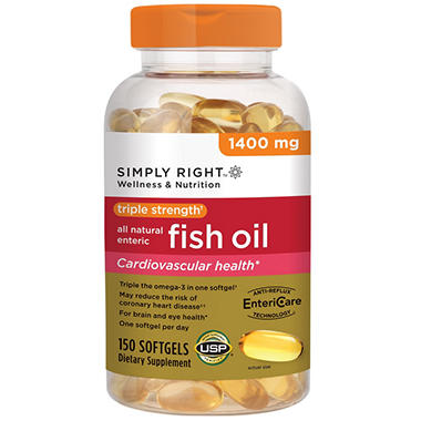 Simply right triple strength fish oil 1400mg 150 ct for Viva naturals triple strength omega 3 fish oil