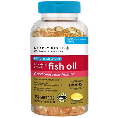 Simply right regular strength enteric fish oil 350 ct for Sam s club fish oil