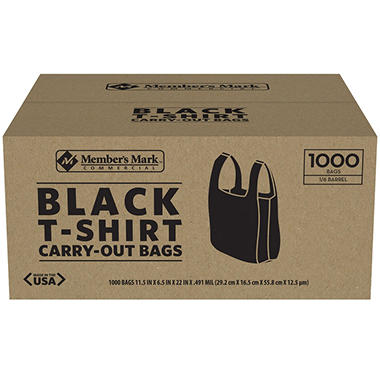 Member 39 s mark black t shirt carryout bags 1 000 ct for Bags for t shirt packaging