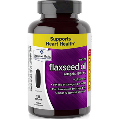 Member 39 s mark 1300 mg flaxseed oil dietary supplement 325 for Sam s club fish oil