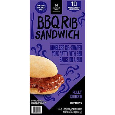 Member S Mark Bbq Rib Sandwich 10 Ct Sam S Club