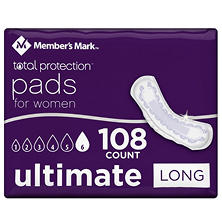 Member's Mark Total Protection Ultimate Long Pad for Women (108 ct.)
