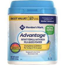 Member's Mark Non-GMO Infant Formula, Advantage (48 oz.)