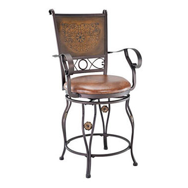 Big Amp Tall Copper Stamped Back Bar Stool With Arms