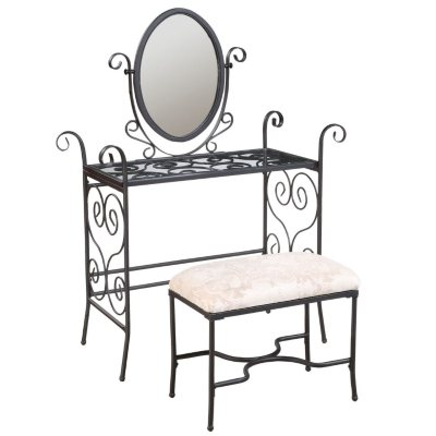Garden District Matte Black Vanity/Mirror/Bench - Sam s Club