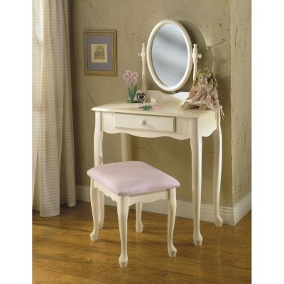 Vanity Mirror With Lights Sam S Club : Off-White Vanity with Mirror & Bench Set - Sam s Club