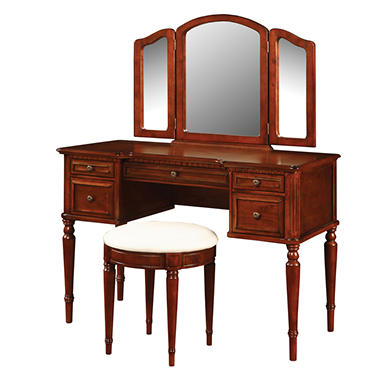 Vanity mirror and bench set warm cherry sam 39 s club for Vanity mirror sets furniture