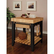 Kitchen Island Butcher Block, Black/Natural