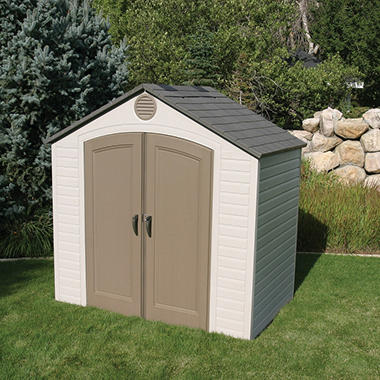Lifetime 8 39 x 5 39 resin storage shed sam 39 s club for Resin garden shed