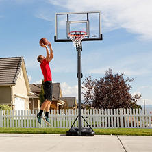 "Lifetime 52"" Steel-Framed Acrylic, Power Lift, XL Base Portable Basketball System, 90675"