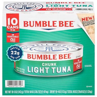 Bumble bee chunk light tuna in oil 5 oz 10 ct sam 39 s for Sam s club fish oil