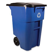 Rubbermaid Commercial - Brute Recycling Rollout Container, Square, 50gal -  Blue