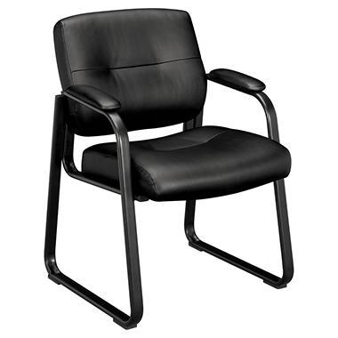 Basyx Vl690 Series Leather Guest Chair Black Sam S Club