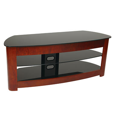 "OSP Designs 49"" Wood & Glass TV Stand - Dark Cherry with ..."