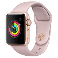 Apple Watch Series 3 GPS - Gold Aluminum Case with Pink Sand Sport Band (Choose Size)
