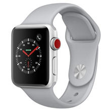 Apple Watch Series 3 GPS + Cellular - Silver Aluminum Case with Fog Sport Band (Choose Size)